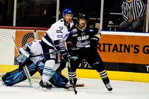 Marc Levers battles with the Coventry Blaze